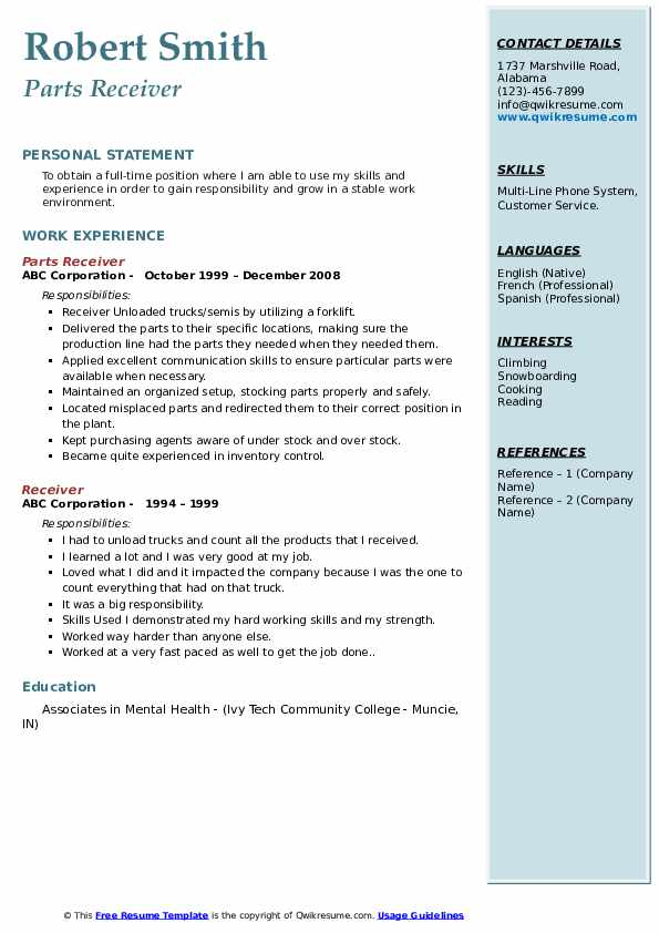 Parts Receiver Resume Template