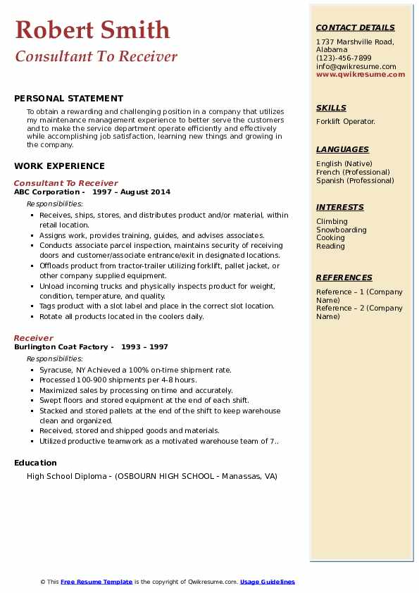 Consultant To Receiver Resume Template