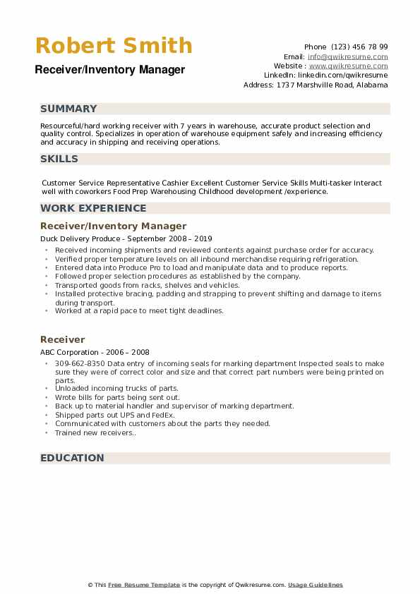 Receiver/Inventory Manager Resume Example