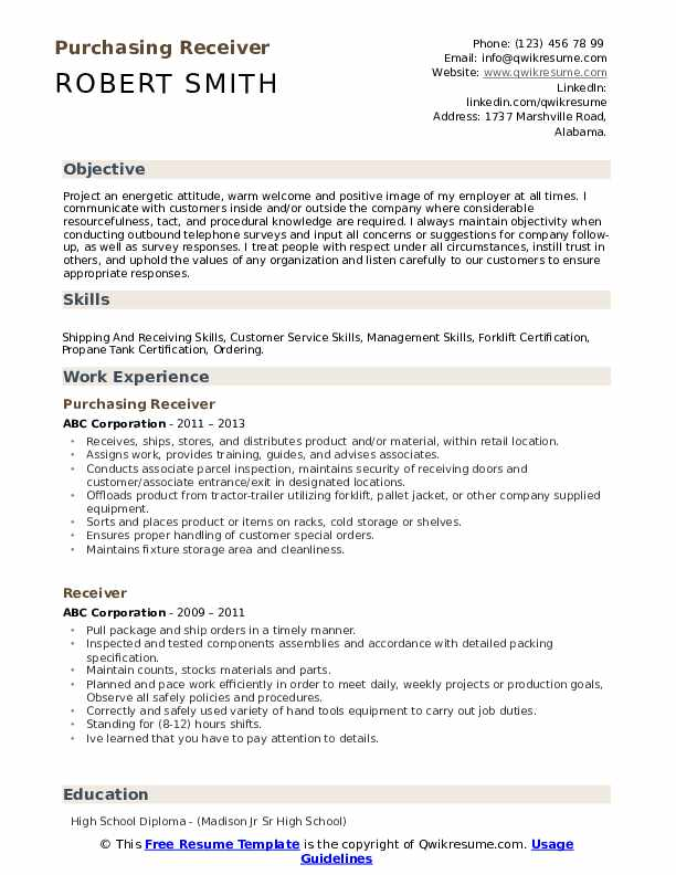 Purchasing Receiver Resume Example