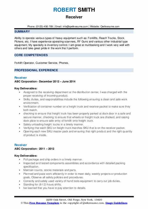 Receiver Resume example