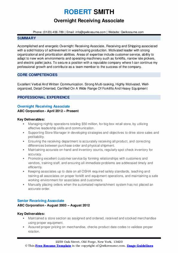 Overnight Receiving Associate Resume Sample