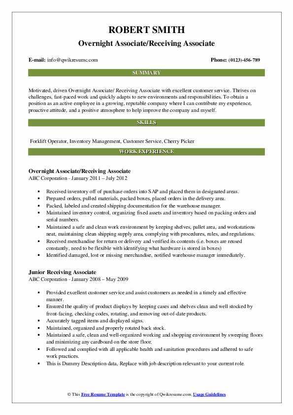Overnight Associate/Receiving Associate Resume Sample