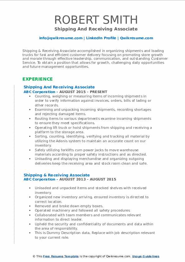 Shipping And Receiving Associate Resume Example