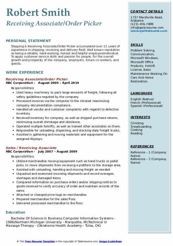 Receiving Associate/Order Picker Resume Model