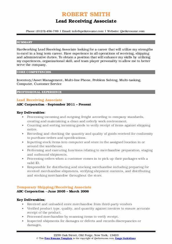 Lead Receiving Associate Resume Template
