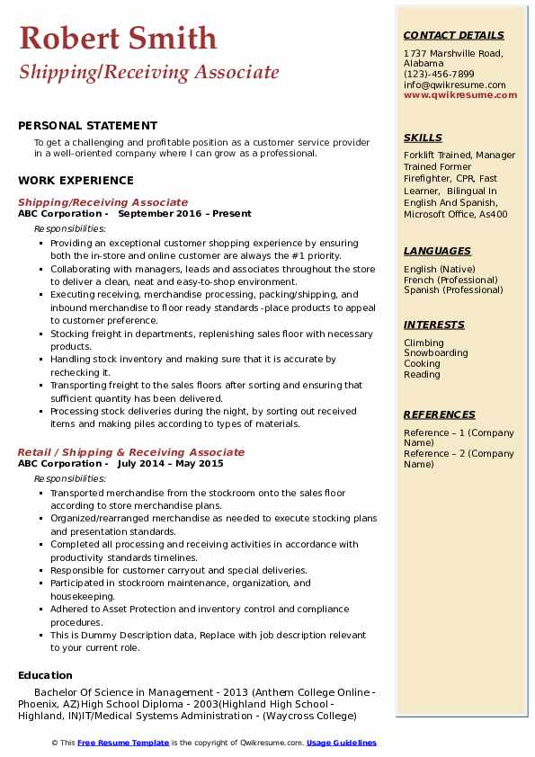 Shipping/Receiving Associate Resume Template