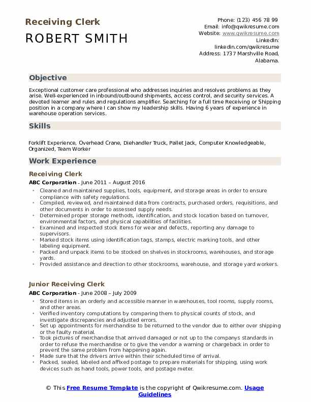 Receiving Clerk Resume Model