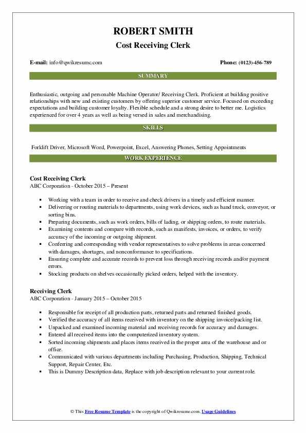 Cost Receiving Clerk Resume Sample