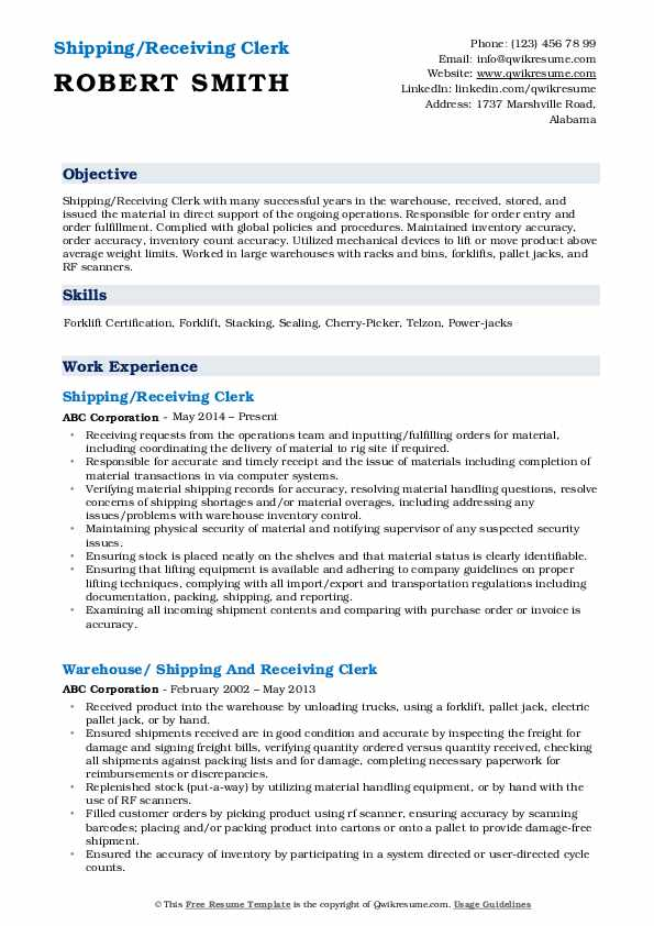 Shipping/Receiving Clerk Resume Model