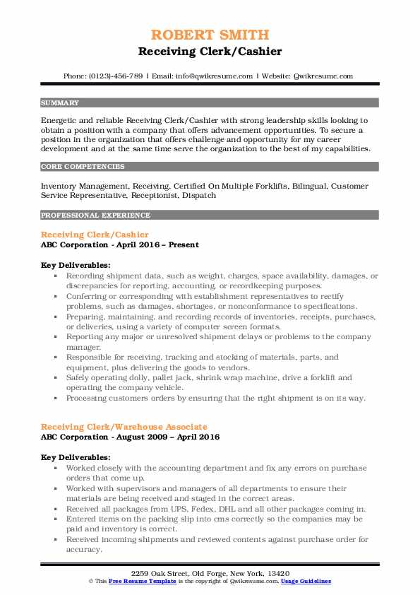 Receiving Clerk/Cashier Resume Model