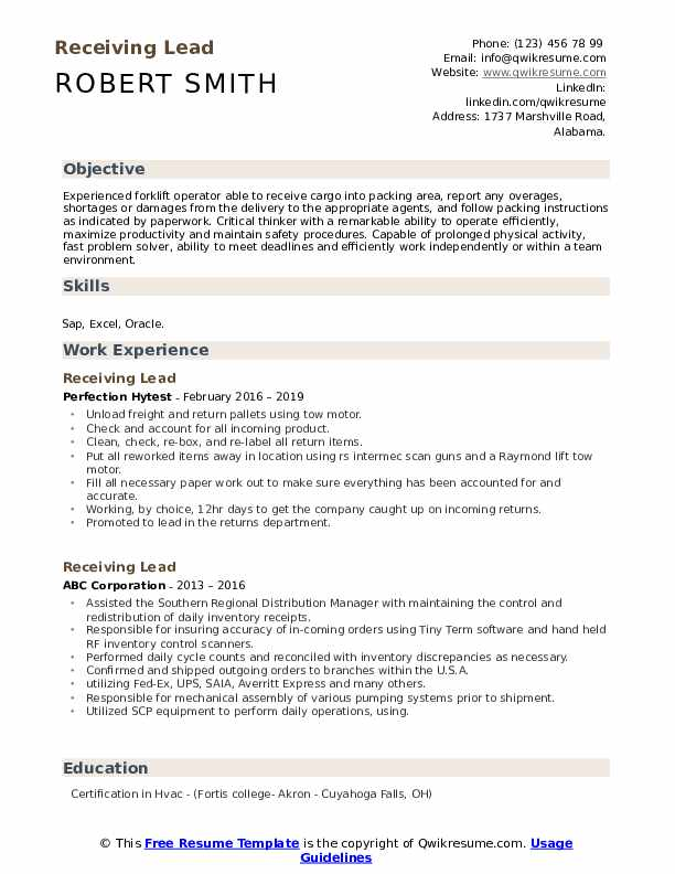 Receiving Lead Resume Format