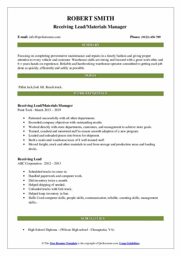 Receiving Lead/Materials Manager  Resume Format