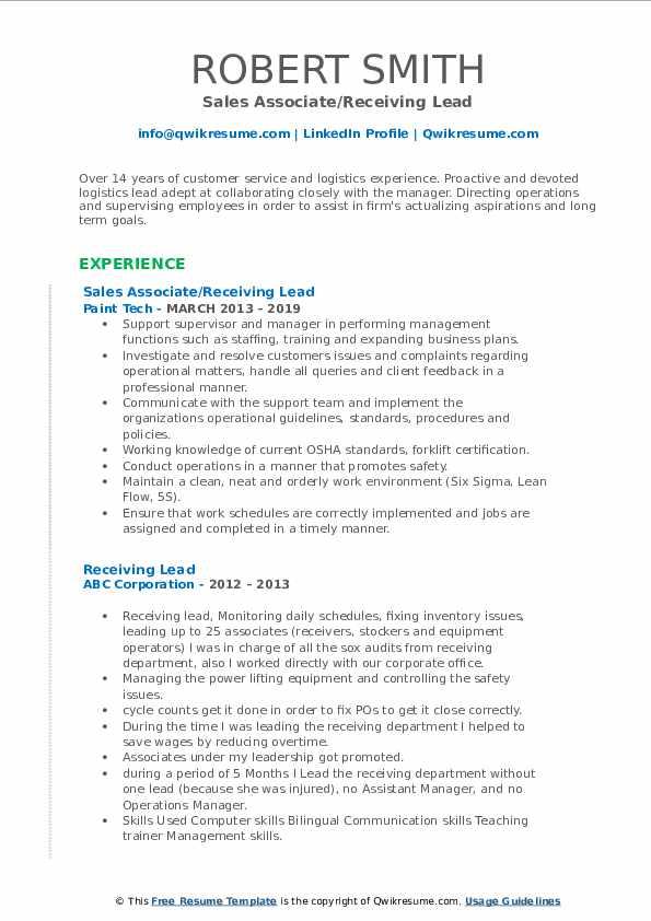 Sales Associate/Receiving Lead Resume Model