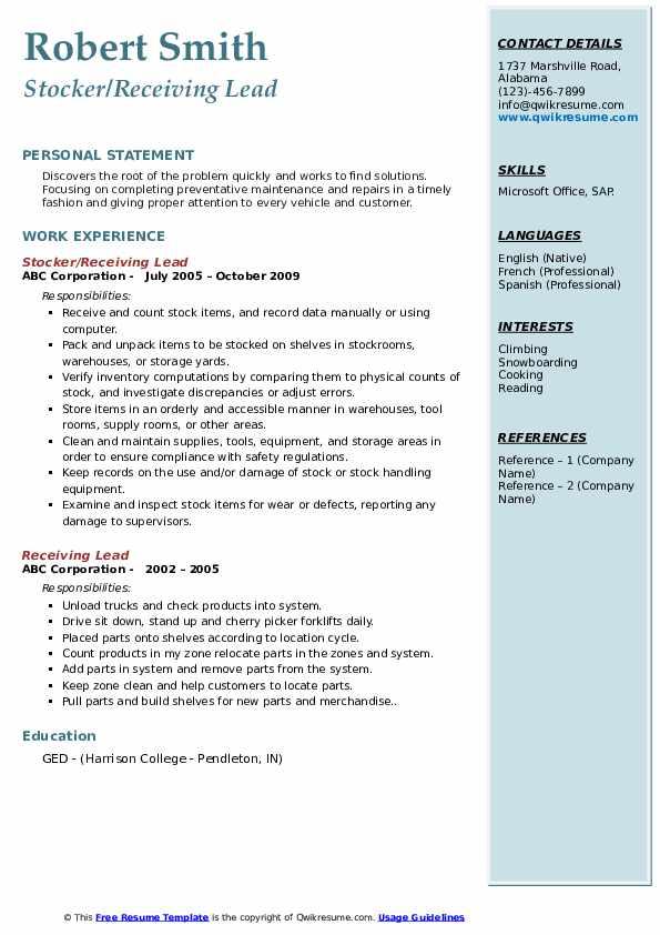 Stocker/Receiving Lead Resume Example