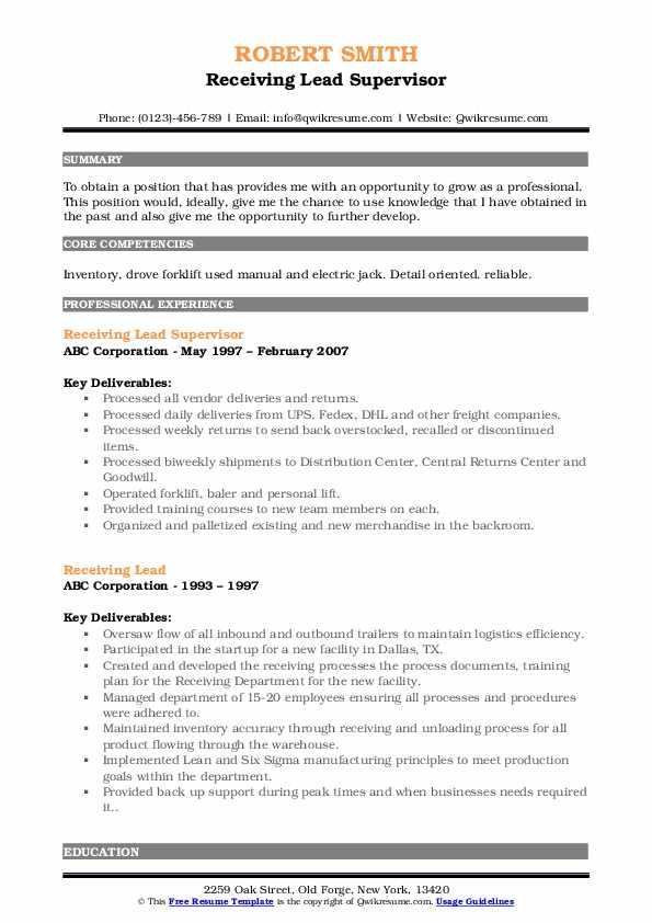 Receiving Lead Supervisor Resume Format