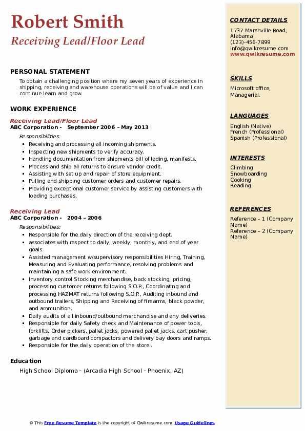 Receiving Lead/Floor Lead Resume Template