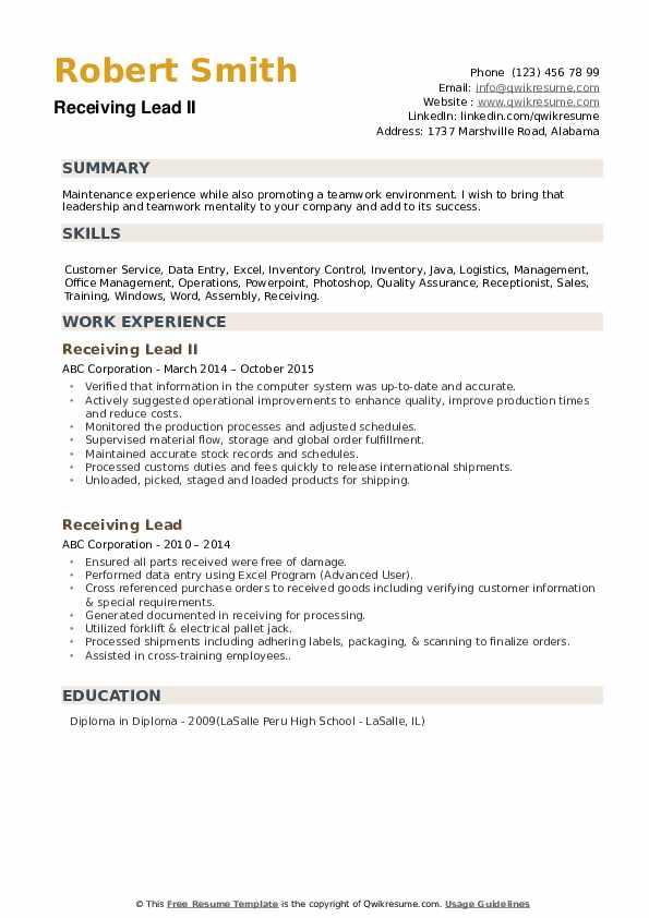 Receiving Lead II Resume Format