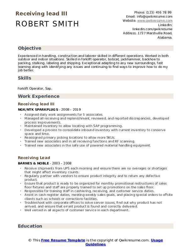 Receiving lead III Resume Model