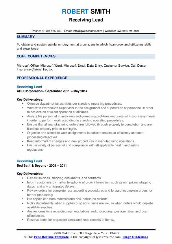 Receiving Lead Resume example
