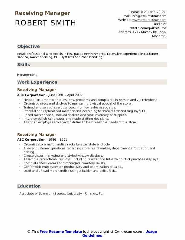 Receiving Manager Resume Model