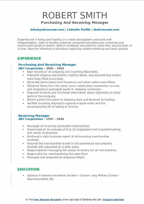 Purchasing And Receiving Manager Resume Template