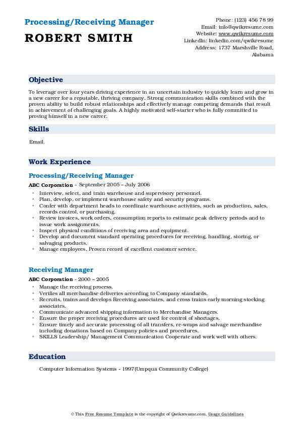 Processing/Receiving Manager Resume Example