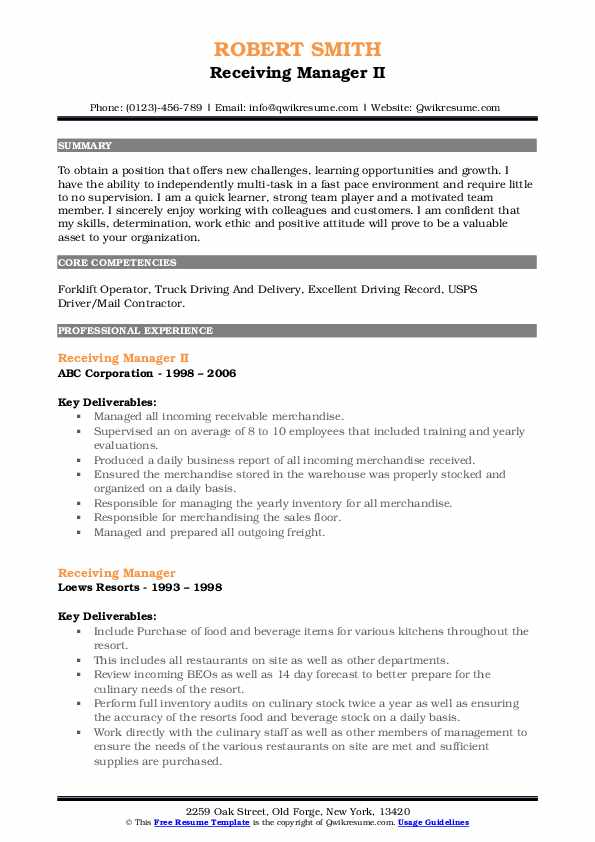 Receiving Manager II Resume Model