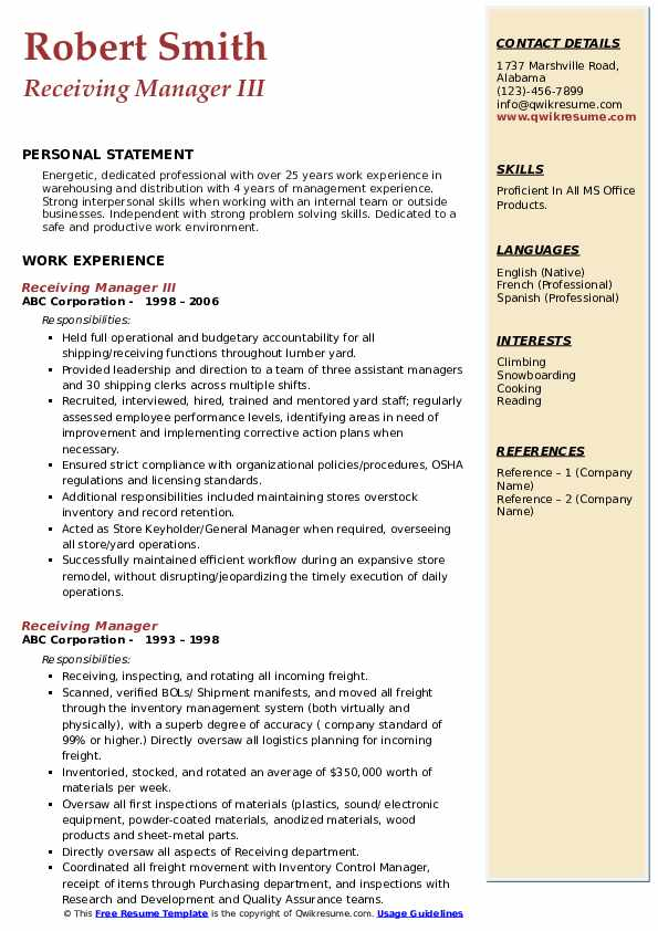 Receiving Manager III Resume Format