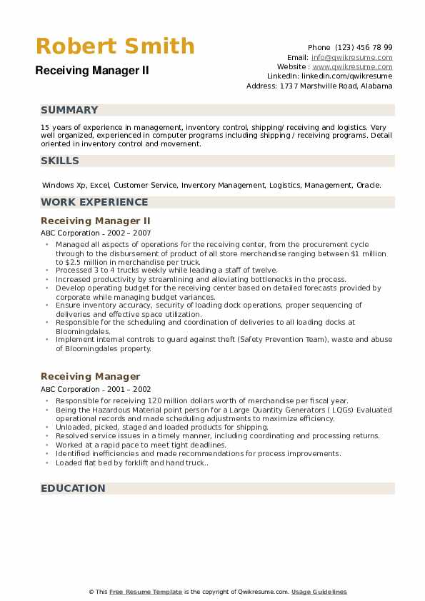 Receiving Manager II Resume Sample