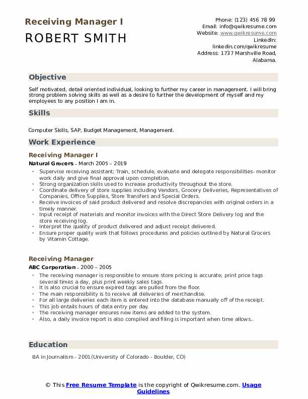 Receiving Manager I Resume Example