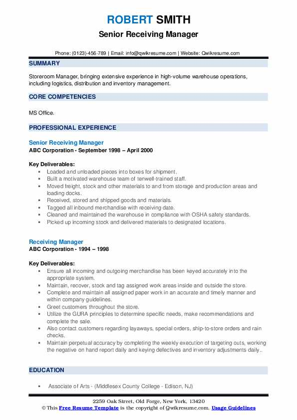 Receiving Manager Resume example