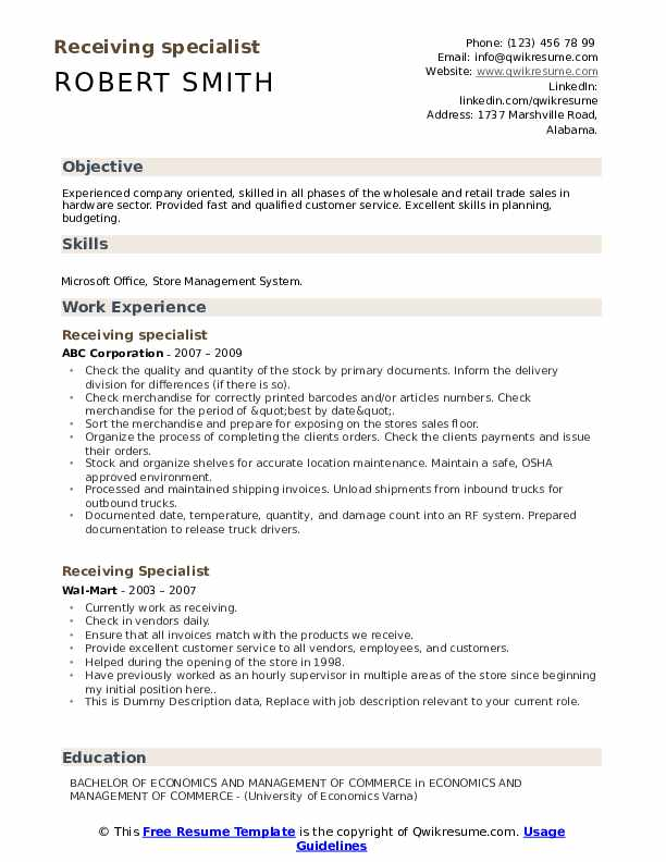 Receiving Specialist Resume example