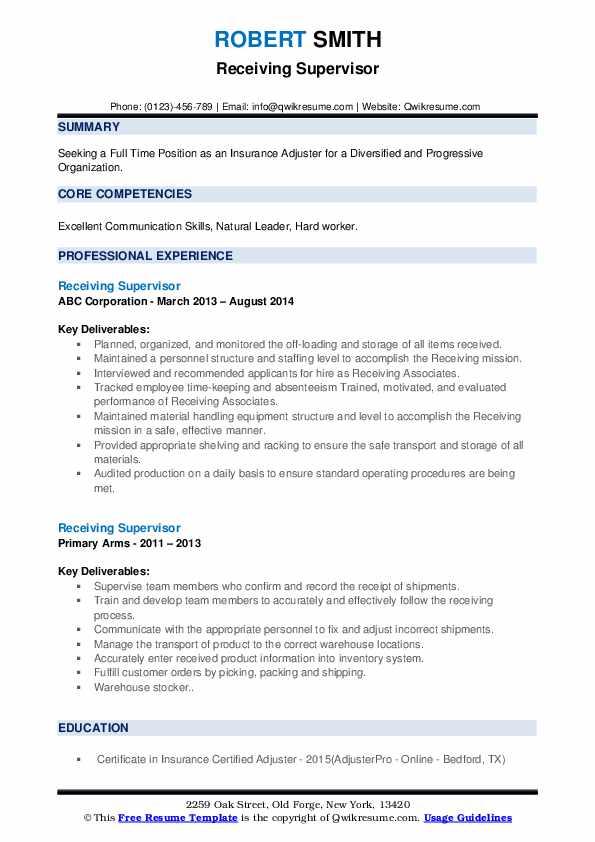Receiving Supervisor Resume example