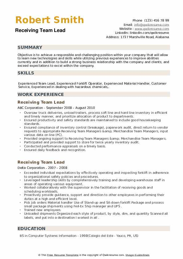 Receiving Team Lead Resume example