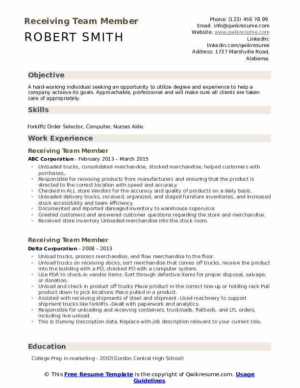 Receiving Team Member Resume example