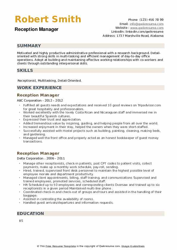 Reception Manager Resume example