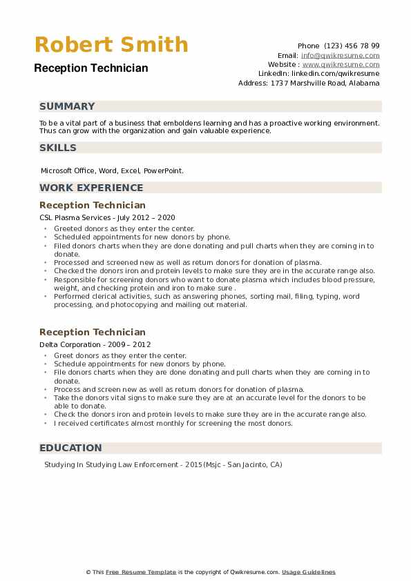 Reception Technician Resume example