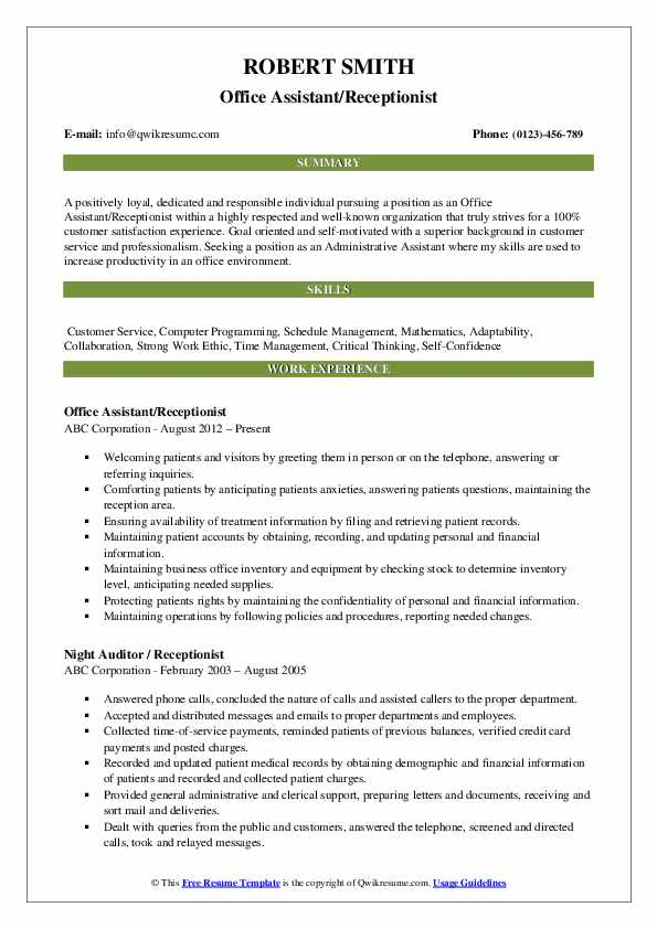 Office Assistant/Receptionist Resume Format