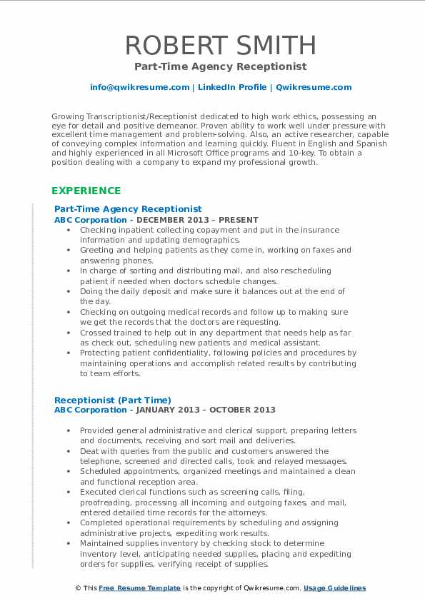 Receptionist Resume Samples Qwikresume