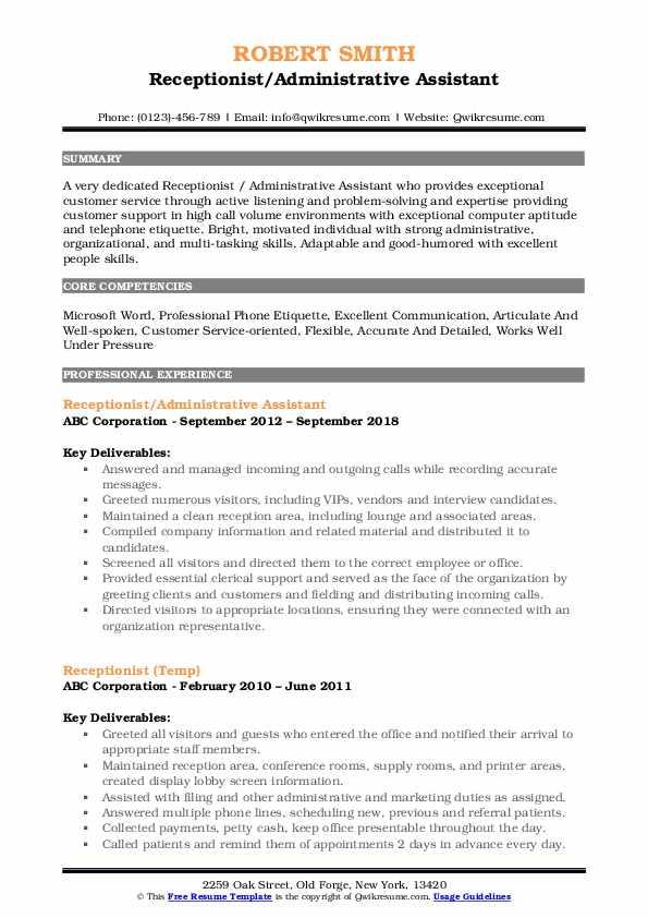 receptionist resume samples  qwikresume