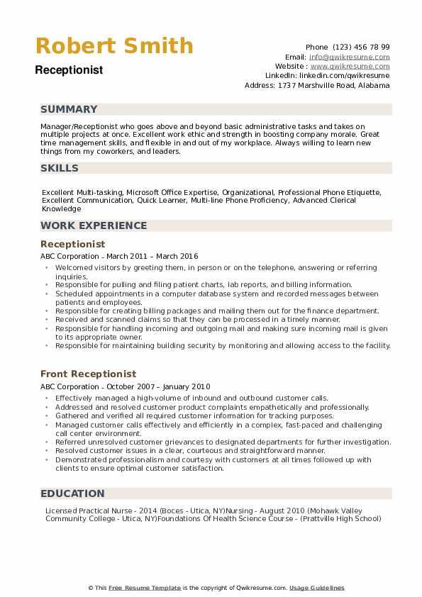 Receptionist Resume example