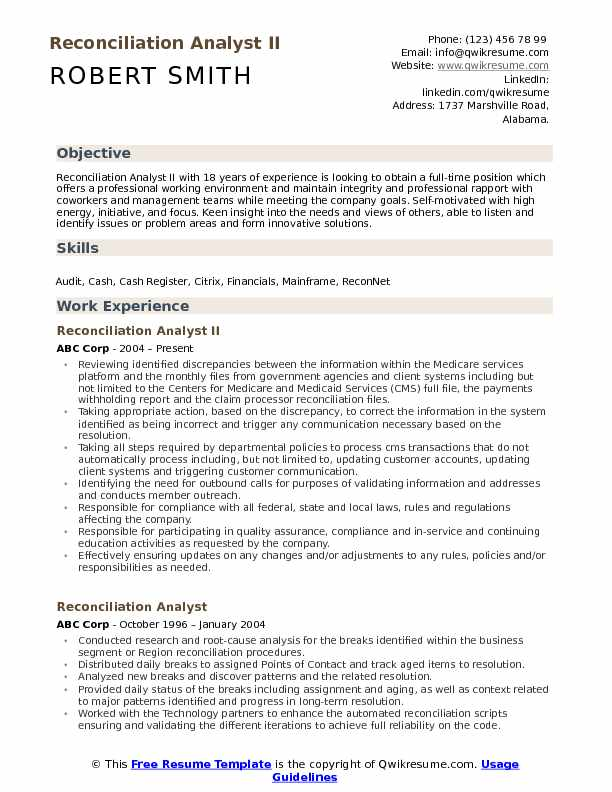 Reconciliation Analyst II Resume Sample