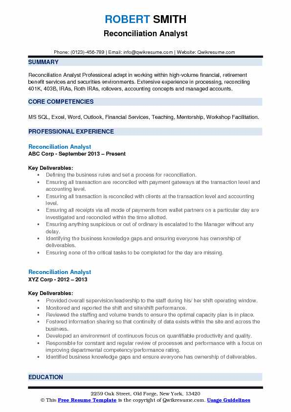Reconciliation Analyst Resume Model