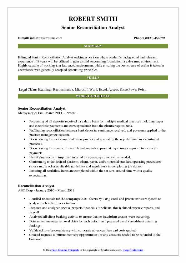 Senior Reconciliation Analyst Resume Template
