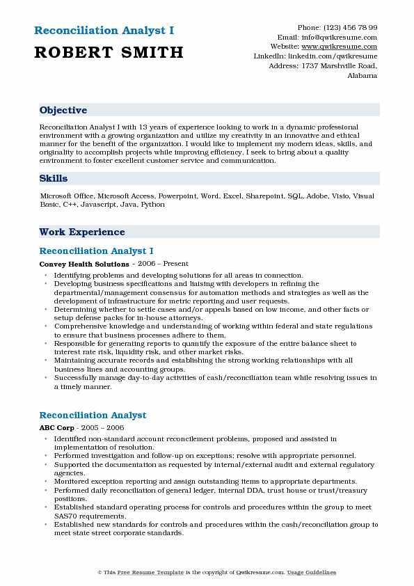 Reconciliation Analyst I Resume Sample