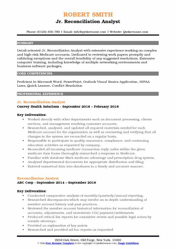 Jr. Reconciliation Analyst Resume Model