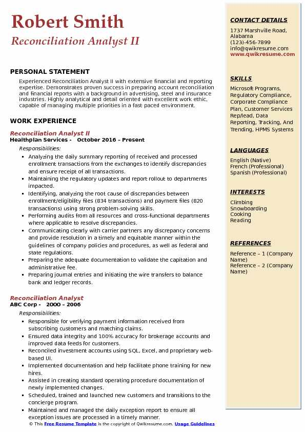 Reconciliation Analyst II Resume Format