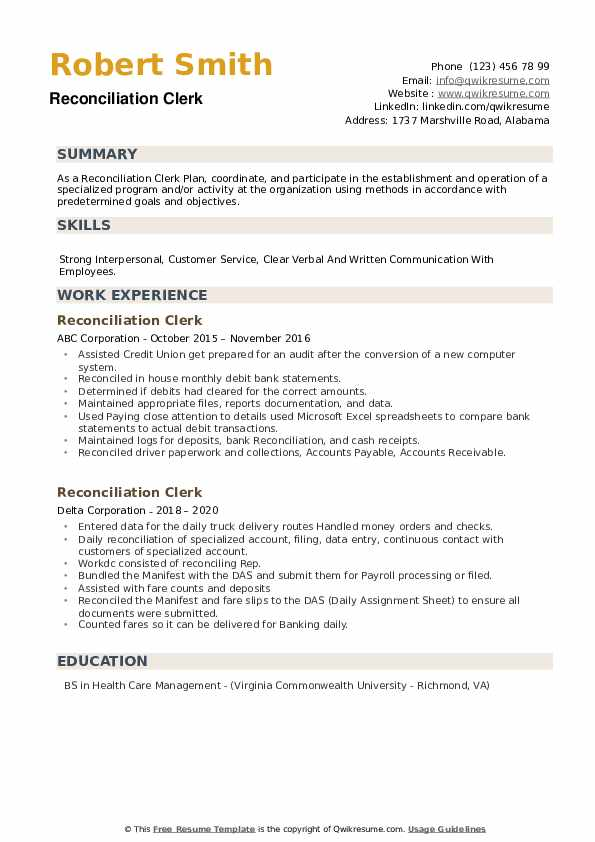 Reconciliation Clerk Resume example