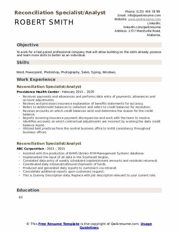 Reconciliation Specialist Resume example